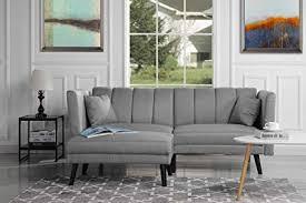 mid century modern furniture living room. Mid-Century Modern Linen Fabric Futon Sofa Bed, Living Room Sleeper Couch  (Light Mid Century Modern Furniture Living Room
