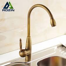 luxury antique brass long neck swivel spout kitchen mixer faucet rotation bathroom kitchen sink faucets