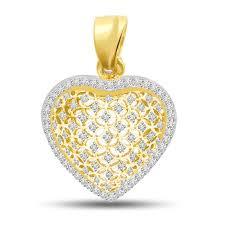 surat diamond 0 45 cts heart shape diamond 18k gold pendant p713