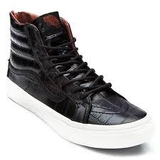 vans sk8 hi slim zip croc leather shoes black 4 5