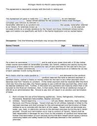 Basic Lease Agreement Free Michigan Month To Month Rental Agreement Pdf Word