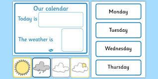 Date Chart For Classroom Free Daily Calendar Weather Chart Weather Calendar