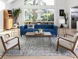 Living room sofa ideas Leather Sofa Mid Century Living Room With Tate Estate Sofa Living Spaces Living Room Ideas Decor Living Spaces