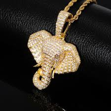 Designer Elephant Jewelry Wholesale New Fashion Designer Luxury Real 18k Gold Bling Diamond Elephant Head Hip Hop Pendant Necklace Cubic Zirconia Rapper Jewelry For Men Women