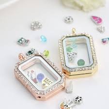 2019 charm memory locket floating rectangle locket with diamonds of high quality transpa glass photo frames floating charm lockets pendants from