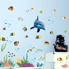 waterproof bathroom kitchen wall sticker ocean deep water sea home decor stickers dolphin fish decorative decal mural kids room cloud wall decals cloud wall