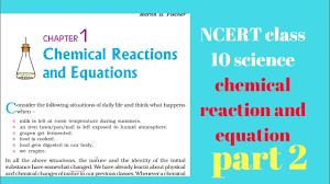 ncert class 10 science chapter 1 chemical reaction and equation part 2