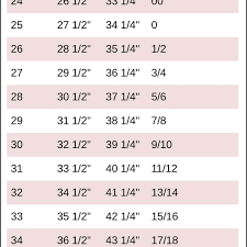 Jeans Size Chart Jean Size Chart
