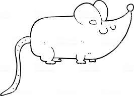 かわいいマウスの白黒イラスト いたずら書きのベクターアート素材や