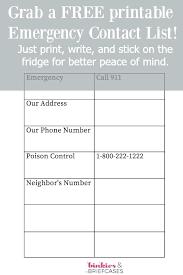 Emergency Call List Template