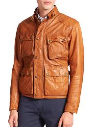 polo ralph lauren southbury leather biker jacket in brown for men lyst