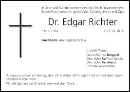 Edgar Richter   Traueranzeige   trauer.inFranken.de
