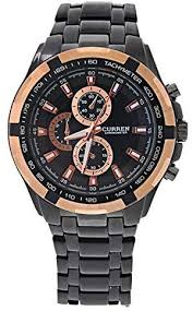 <b>Curren 8023 Men's</b> Wrist Watch with Black Case & Brown Bezel ...