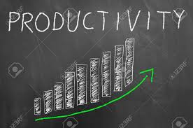 Productivity Bars Arrow Up Chalk Graphic On Blackboard Or Chalkboard
