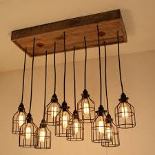 etsy industrial lighting. cage light chandelier lighting industrial edison bulbs upcycled wood etsy s