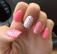 Summer Nail Designs 2014 Summer Nails 2014 Gel Pink Polka Dots Sparkles Stripes