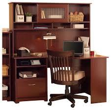 bush cabot 60 corner computer desk with hutch in harvest cherry transitional desks