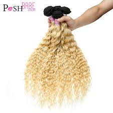 POSH BABE 1/3/4 Pcs Two Tone 1B 613 Blonde Ombre Bundle Deal 12 28 Inch  Remy Brazilian Deep Wave Human Hair Weave Free Shipping|Hair Weaves| -  AliExpress