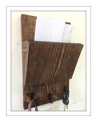 rustic wood hanging mail holder and key rack wall mail sorter and key holder mail organizer