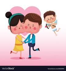 cute couple cartoon with cupid vector image