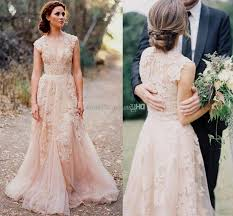 blush wedding dress with sleeves naf dresses