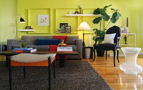 bright grey living room design bright yellow sofa living