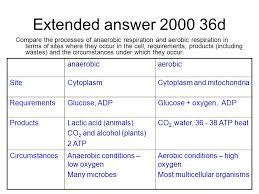 extended answer 2000 36d compare the processes of anaerobic respiration and aerobic respiration in terms of