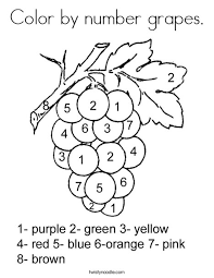 Small Picture Color by number grapes Coloring Page Twisty Noodle
