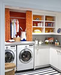 View in gallery Colorful laundry room shelving idea