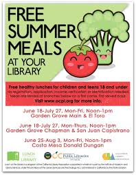 5 oc library branches are offering free summer meals for kids starting today
