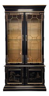HABERSHAM Asian Chinoiserie Black Lacquer Curio China Display Cabinet |  Chairish