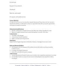 English Cv Template Free. English Resume Sample Pdf Free Teacher ...