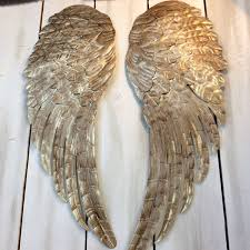 angel wings wall art intended for most cur large metal angel wings wall decor distressed