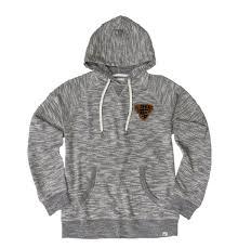 granite tweed leather patch hooded sweatshirt