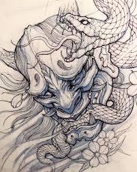 Hanya Mask Sketch By At Davidhoangtattoo Sketches Japanese Tattoo