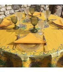 tissus tosseli round coated cotton tablecloth bouquet de lavandes yellow