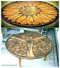 diy log coffee table sliced log coffee table wood and resin table top sliced log coffee