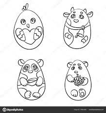 Kleurplaat Set Van 4 Schattige Dieren In Een Vorm Van Easter Egg Th