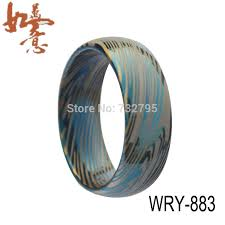 Free Shipping 8mm width Blue Damascus Tungsten Carbide Ring ...