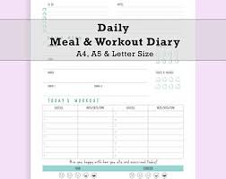 Daily Meal Planner Workout Planner Meal Planner Diet Diary Etsy