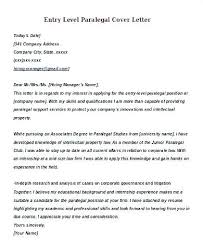 Paralegal Cover Letter Template Entry Level Paralegal Cover Letter