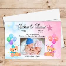 Boy Or Girl Baby Announcement 10 Personalised Twins Boy Girl Baby Birth Announcement Thank You Photo Cards N69