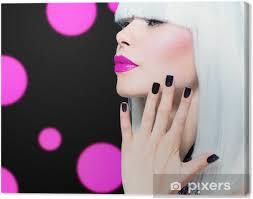 Obraz Vogue Style Model Portrét Dívka S Bílými Vlasy A černé Nehty Na Plátně