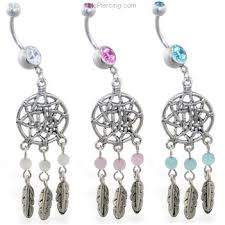Dream Catcher Belly Button Rings Belly button ring with dangling dream catcher and feathers at 15