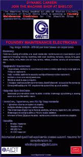 aidt jobsjobsview foundry maintenance electrician shelco fme cover gallery of maintenance electrician job description