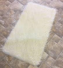 supreme quality cream mongolian faux fur gy flokati rug carpet nonslip