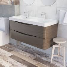erin wall mounted 1200 double basin vanity unit composite resin basin grey elm hover hover hover