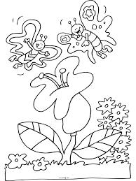 Kleurplaat Vlinders Op Een Bloem Kleurplatennl