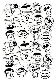 Halloween Personnages Doodle Coloriage Halloween Coloriages