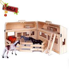 ss siayi folding wooden le dollhouse with portable handle fence 10pcs toy horse playset boys girls above 3 years old wooden le horse